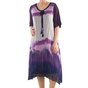 Plus Size Tie Dye Crinkled Dress - La Mouette